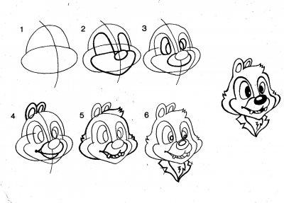 Как рисовать героев мультфильма Чип и Дейл