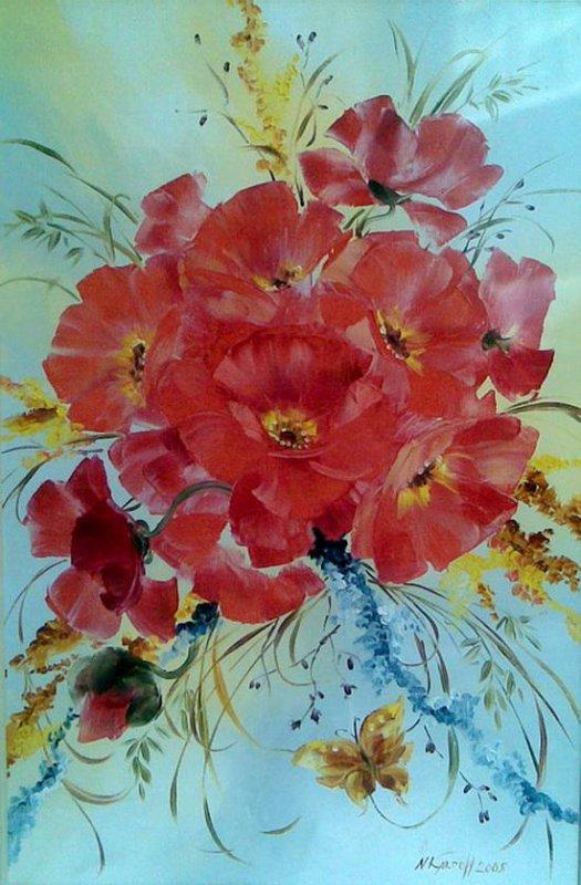 Подборка работ Полевые цветы маслом