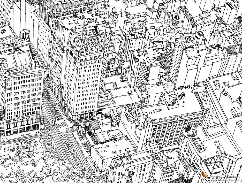 Раскраска город » Как рисовать поэтапно. Уроки рисования ...