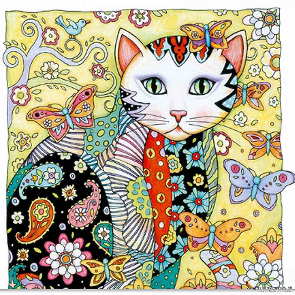 Кошки раскраски антистресс » Как рисовать поэтапно. Уроки ...